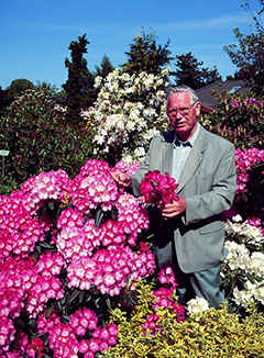 Hans Hachmann, here with his Rhododendron hybrid 'Fantastica'
