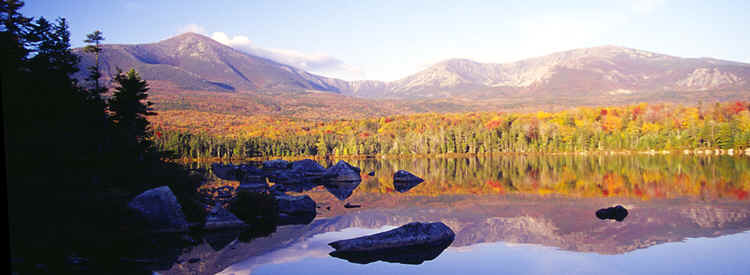 at the 'Sandy Stream Pond' in the Baxter State Park with view on mountain 'Katahdin',  5268 ft.